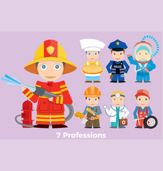 childrens people profession vector image vector image