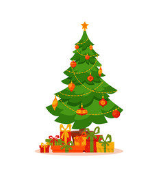 christmas tree decorated vector image vector image