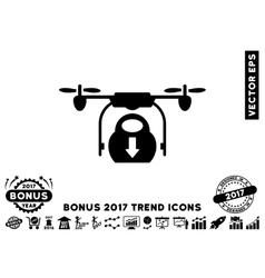 Drone Drop Cargo Flat Icon With 2017 Bonus Trend vector image vector image