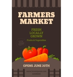 Farmers market poster vector image vector image