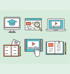 flat design icons online education staff training vector image vector image