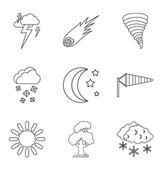 Forecasting icons set outline style vector