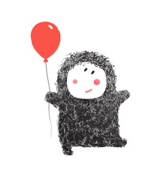 funny hairy baby with balloon vector image