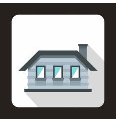 Gray cottage icon in flat style vector image