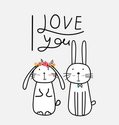 hand drawn cute bunnies vector image