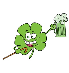 Happy Green Shamrock Leaf With A Cane vector image vector image