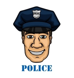 Happy police officer in blue uniform vector