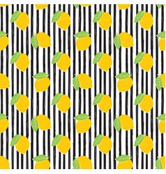 Lemon hand drawn sketch striped seamless pattern vector