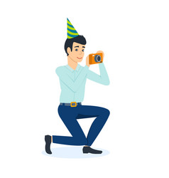 male celebrating birthday with guests vector image vector image