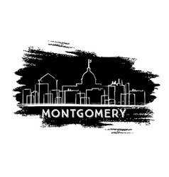 Montgomery skyline silhouette hand drawn sketch vector