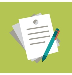 Notebook and pencil icon in flat style with long vector image