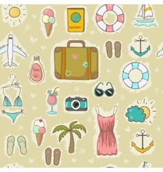 On vacation summer seamless pattern vector image vector image