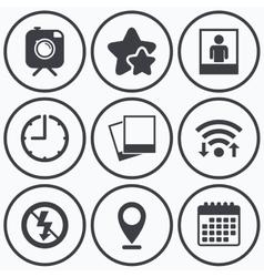Photo camera icon no flash light sign vector