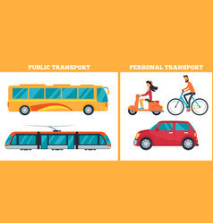 Public transport versus personal transport vector