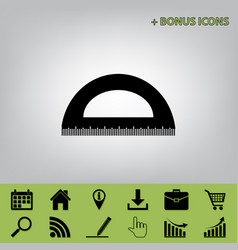 Ruler sign black icon at vector