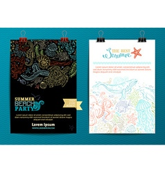 Set of two underwater life poster templates vector