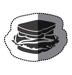 Sticker shading monochrome sandwich food icon vector