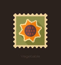 sunflower flat stamp vegetable vector image