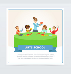 Teacher and group of children at paper craft vector
