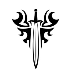 Tribal tattoo with sword vector