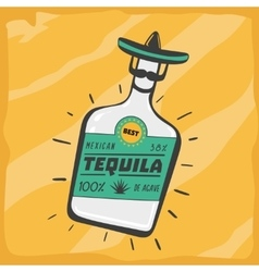 Vintage poster with a tequila bottle vector image vector image