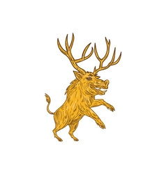 Wild boar razorback with antlers prancing drawing vector