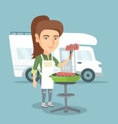 Woman barbecuing meat in front of camper van vector