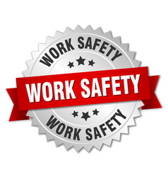 Work safety round isolated silver badge vector