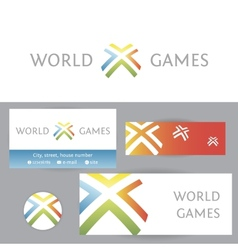 World games template logo and corporate identity vector