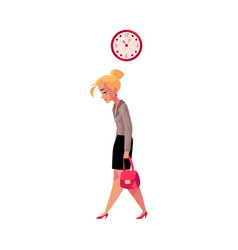 Young tired businesswoman going home after work vector