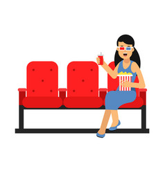 young woman sitting in the cinema with popcorn and vector image