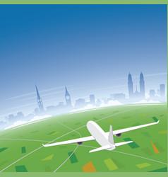 Zurich skyline flight destination vector