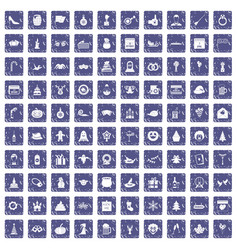 100 holidays icons set grunge sapphire vector image vector image
