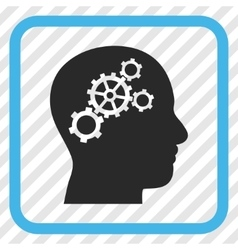 Brain gears icon in a frame vector