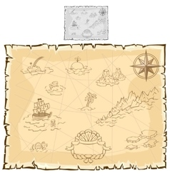 Treasure map on old parchment vector