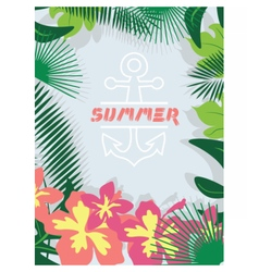 Summer card with tropic flowers vector