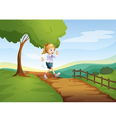 A young lady running hurriedly vector image