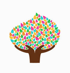Hand tree concept for social help vector
