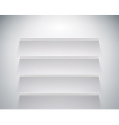Empty shelf on white wall vector