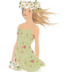 Girl with crown of daisies vector