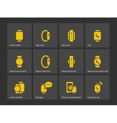 Smart watch with phone icons vector