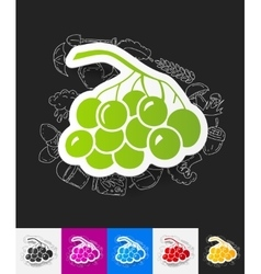 Berries paper sticker with hand drawn elements vector