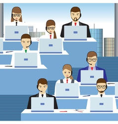 Men and women working in a call center office vector