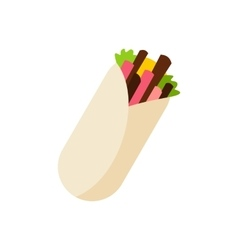 Tortilla wrap with meat and vegetables icon vector