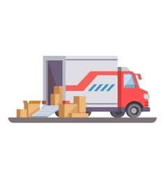 Delivery truck with box vector