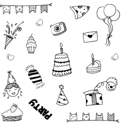 Set for kids party doodle vector