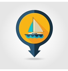 Boat with sail pin map flat icon summer vacation vector