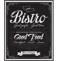 Vintage black school board bistro menu vector