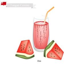 Red Watermelon Otai or Tongan Watermelon Drink vector image