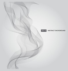 Abstract black line waves smoke on gray background vector